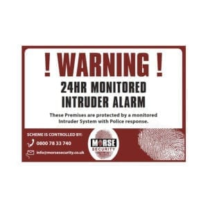 Warning Stickers 24Hr Monitored A6